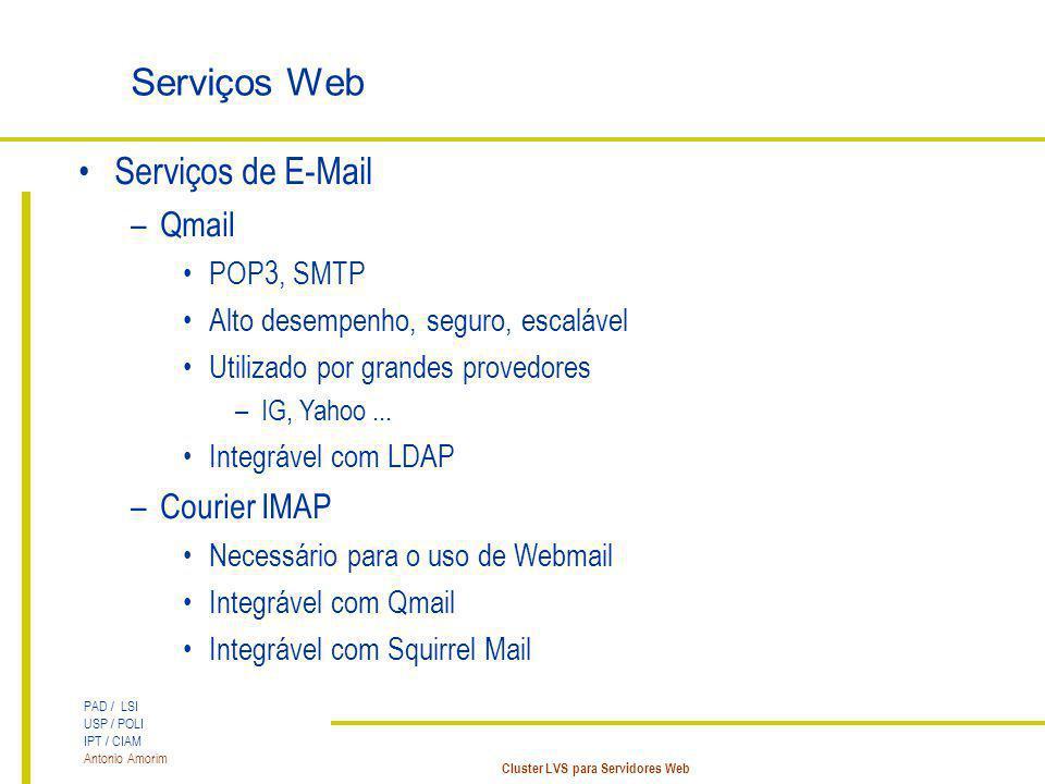 PAD / LSI USP / POLI IPT / CIAM Antonio Amorim Cluster LVS para Servidores Web Serviços Web Serviços de E-Mail –Qmail POP3, SMTP Alto desempenho, segu