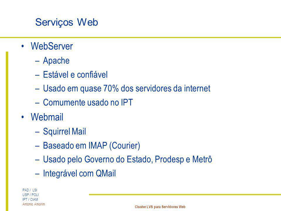 PAD / LSI USP / POLI IPT / CIAM Antonio Amorim Cluster LVS para Servidores Web Serviços Web WebServer –Apache –Estável e confiável –Usado em quase 70%