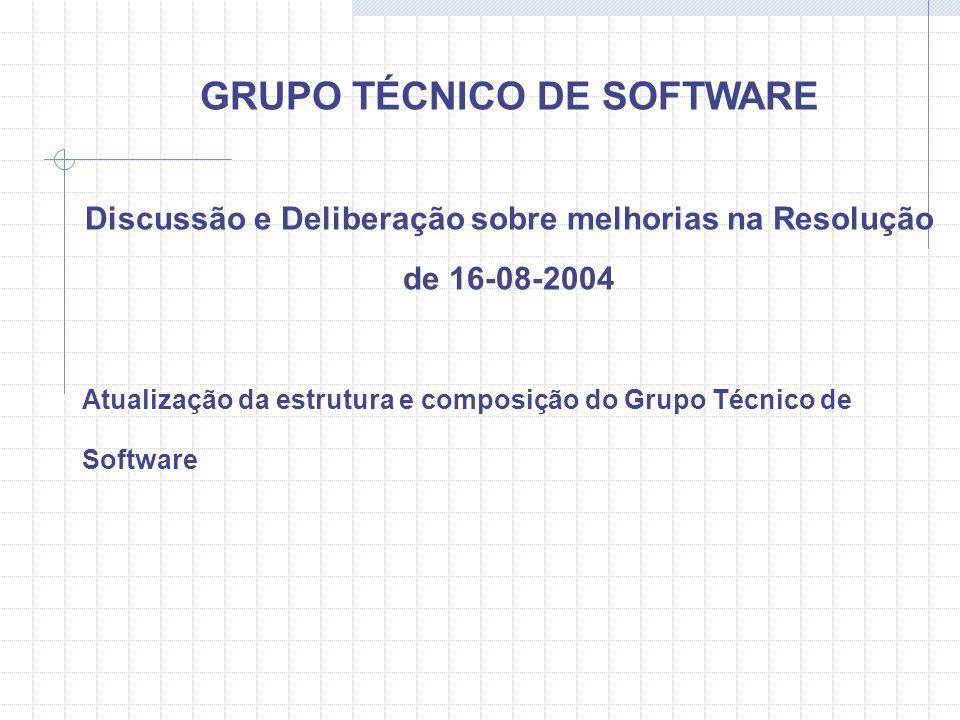 GRUPO TÉCNICO DE SOFTWARE Discussão e Deliberação sobre melhorias na Resolução de 16-08-2004 Atualização da estrutura e composição do Grupo Técnico de Software