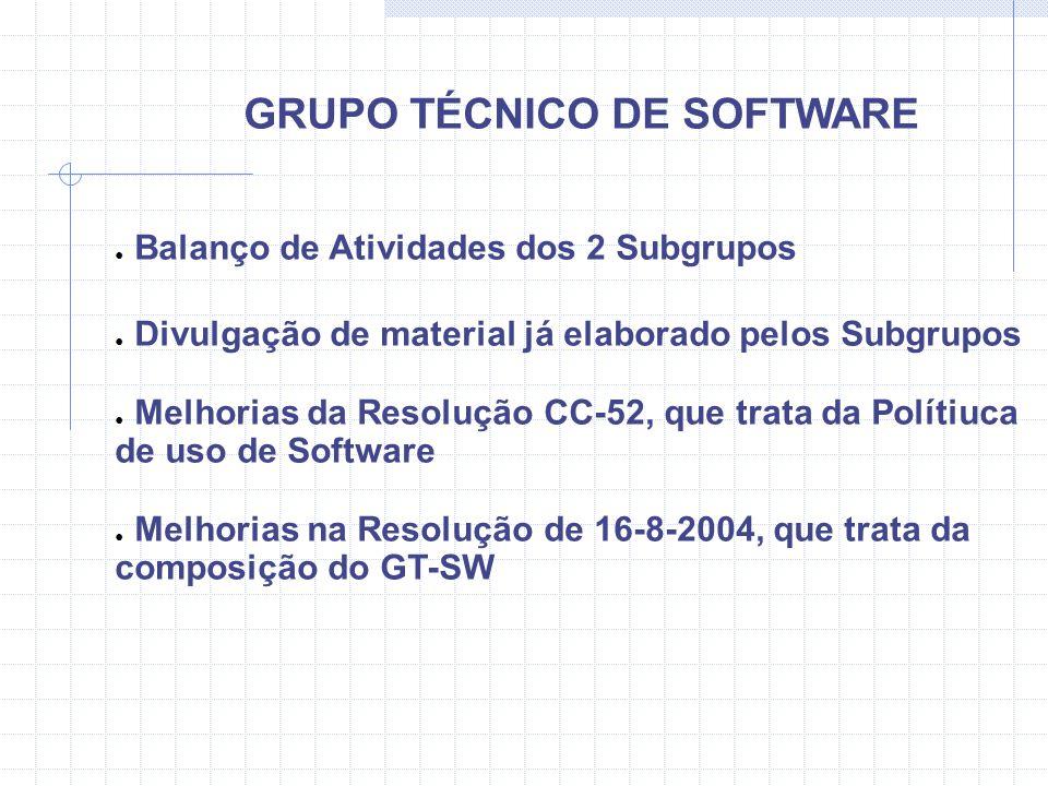 GRUPO TÉCNICO DE SOFTWARE Balanço de Atividades dos 2 Subgrupos até 03/11/04: SUBGRUPO 1 Roteiro para Justificativa de Software Cartilha de Software Tabela de Equivalência Dicas de Migração de Software SUBGRUPO 2 Página do Software Planejamento de Capacitação em Software