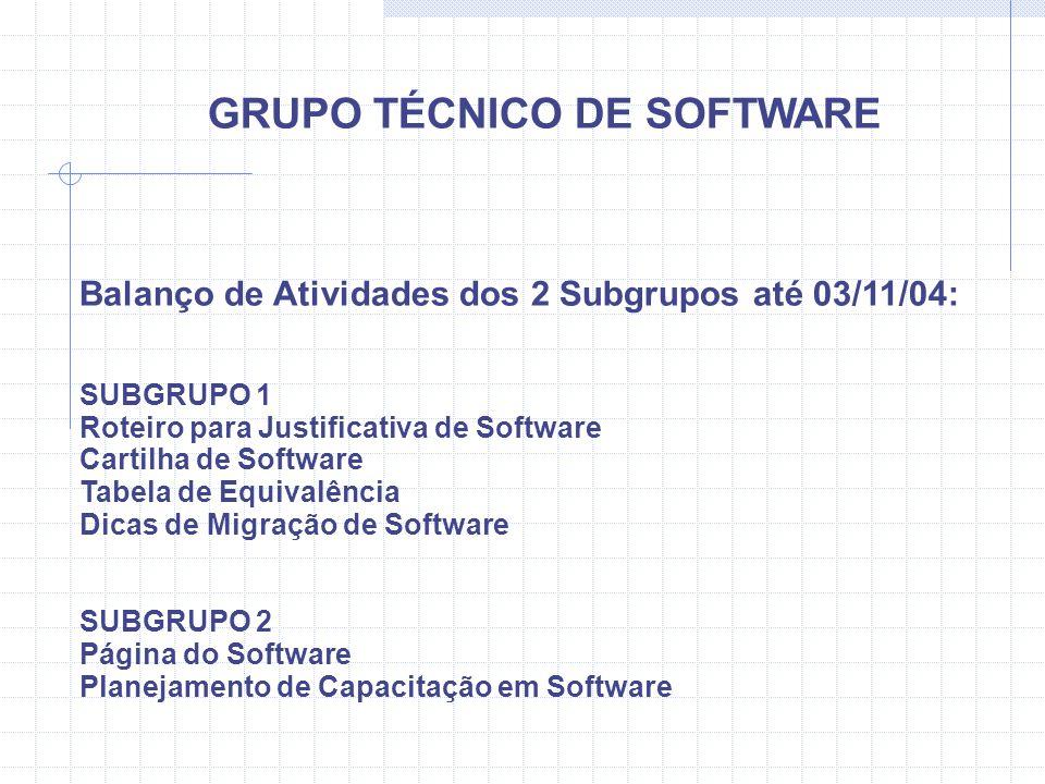 GRUPO TÉCNICO DE SOFTWARE Balanço de Atividades dos 2 Subgrupos até 03/11/04: SUBGRUPO 1 Roteiro para Justificativa de Software Cartilha de Software T