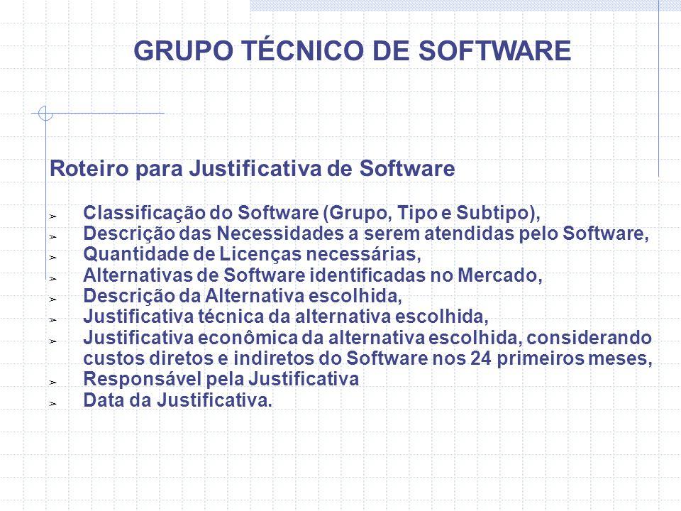 GRUPO TÉCNICO DE SOFTWARE Roteiro para Justificativa de Software Classificação do Software (Grupo, Tipo e Subtipo), Descrição das Necessidades a serem