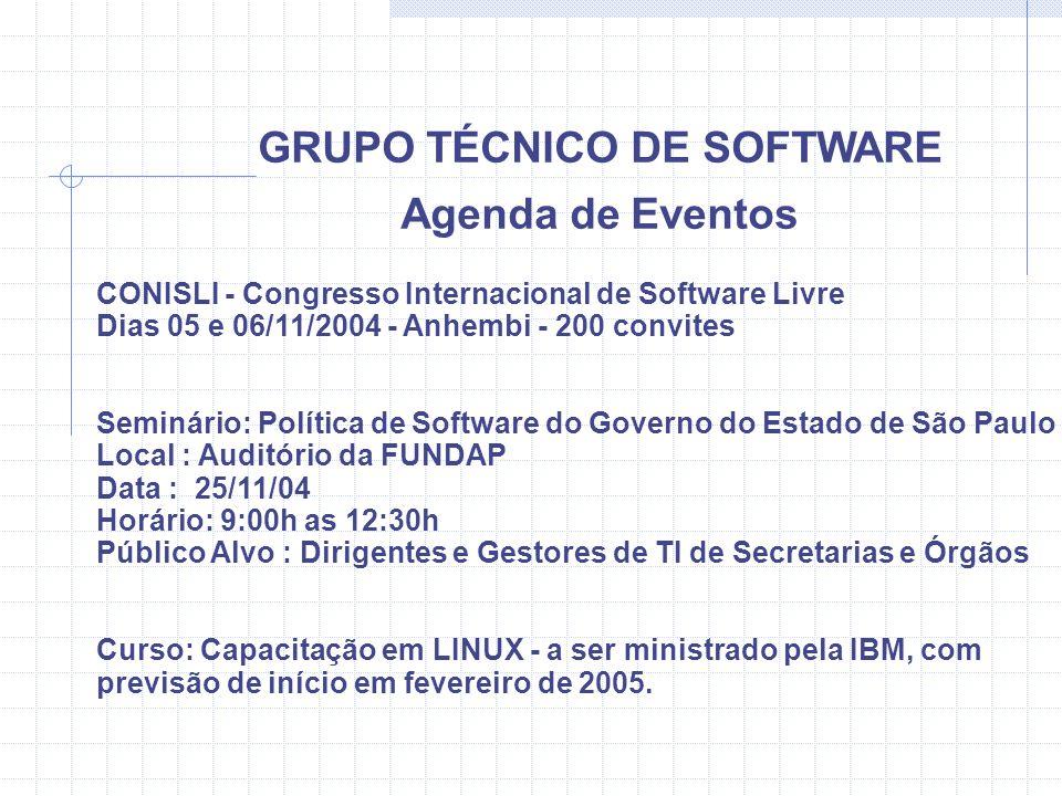 GRUPO TÉCNICO DE SOFTWARE Agenda de Eventos CONISLI - Congresso Internacional de Software Livre Dias 05 e 06/11/2004 - Anhembi - 200 convites Seminári