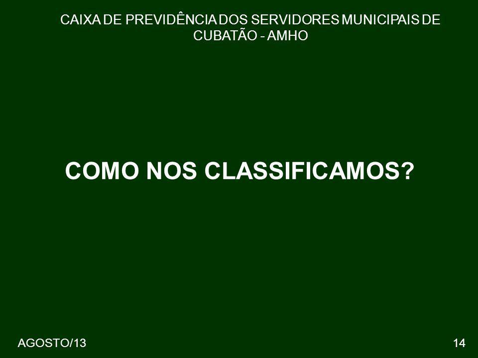 AGOSTO/1314 COMO NOS CLASSIFICAMOS? CAIXA DE PREVIDÊNCIA DOS SERVIDORES MUNICIPAIS DE CUBATÃO - AMHO