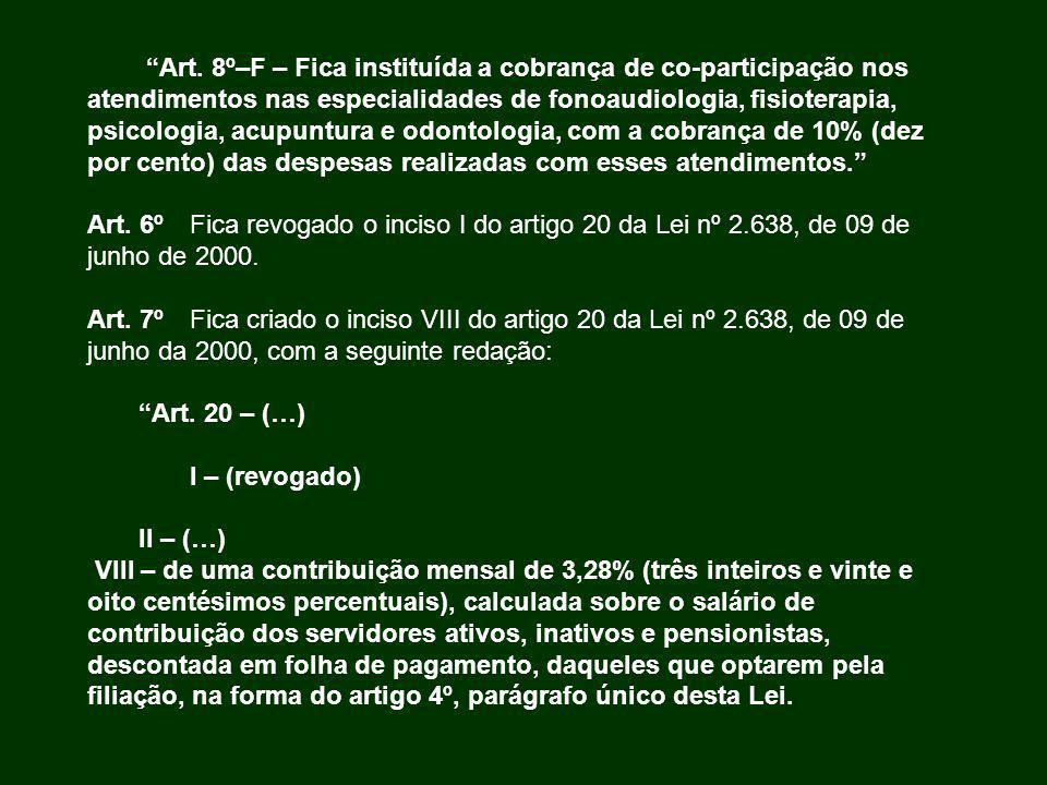 Art. 8º–F – Fica instituída a cobrança de co-participação nos atendimentos nas especialidades de fonoaudiologia, fisioterapia, psicologia, acupuntura