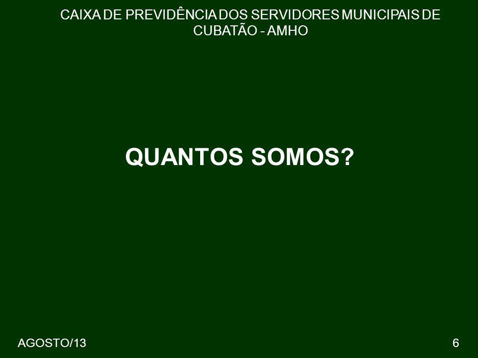 27 62 % DOS CONTRIBUINTES - 3720 CAIXA DE PREVIDÊNCIA DOS SERVIDORES MUNICIPAIS DE CUBATÃO - AMHO 3,28% 225,64 AGOSTO/13