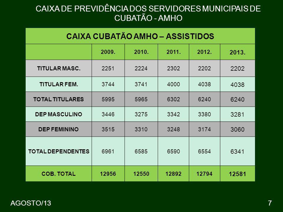 CAIXA CUBATÃO AMHO – ASSISTIDOS 2009.2010.2011.2012. 2013. TITULAR MASC.2251222423022202 TITULAR FEM.3744374140004038 TOTAL TITULARES5995596563026240