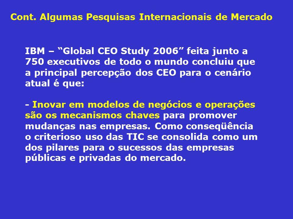 IBM – Global CEO Study 2006 feita junto a 750 executivos de todo o mundo concluiu que a principal percepção dos CEO para o cenário atual é que: - Inov