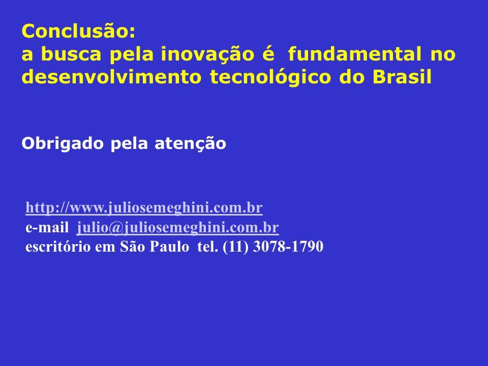 Conclusão: a busca pela inovação é fundamental no desenvolvimento tecnológico do Brasil Obrigado pela atenção http://www.juliosemeghini.com.br http://