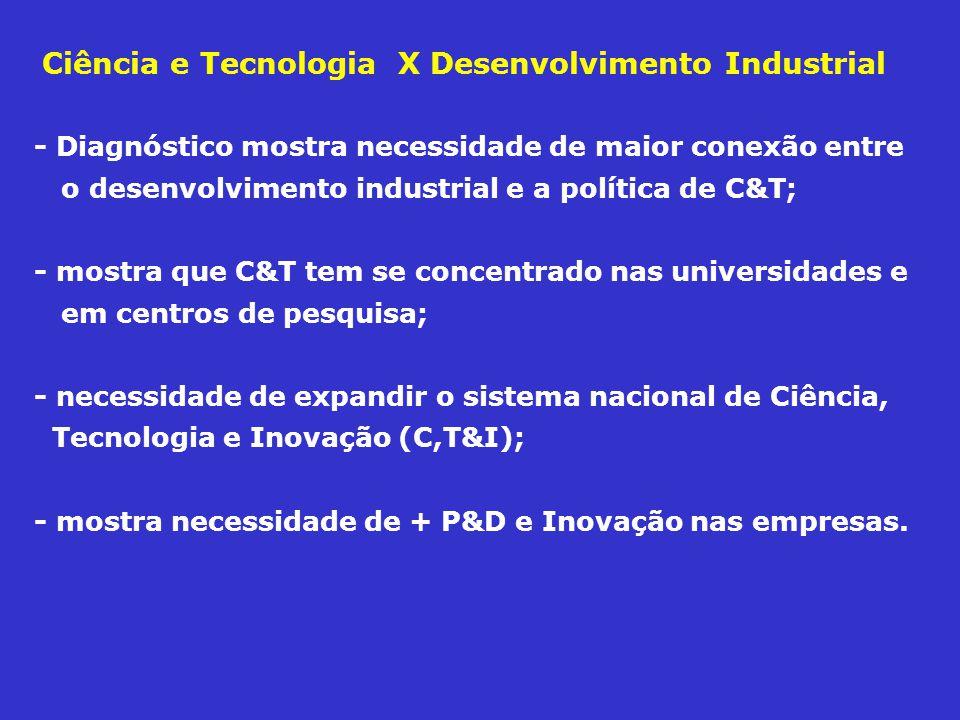 - Diagnóstico mostra necessidade de maior conexão entre o desenvolvimento industrial e a política de C&T; - mostra que C&T tem se concentrado nas univ