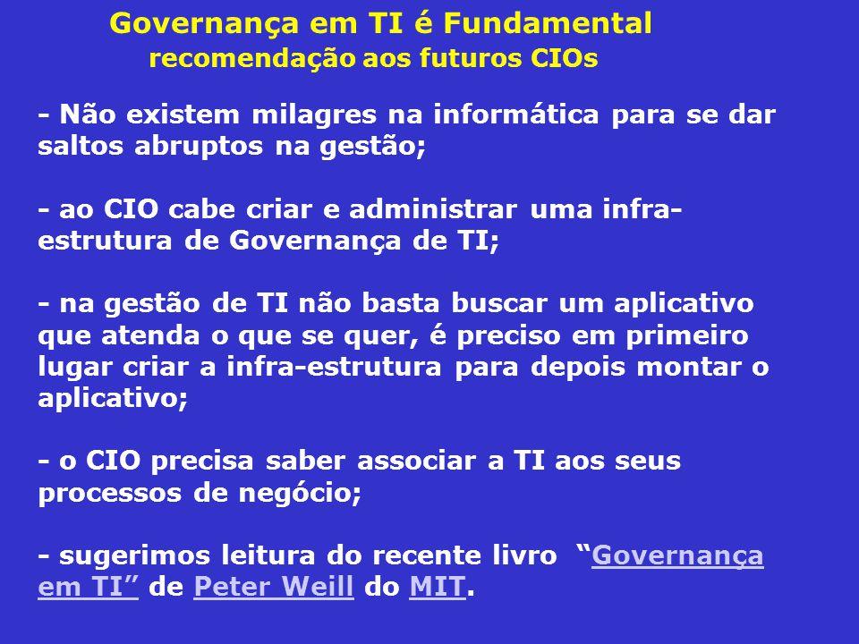 - Não existem milagres na informática para se dar saltos abruptos na gestão; - ao CIO cabe criar e administrar uma infra- estrutura de Governança de T