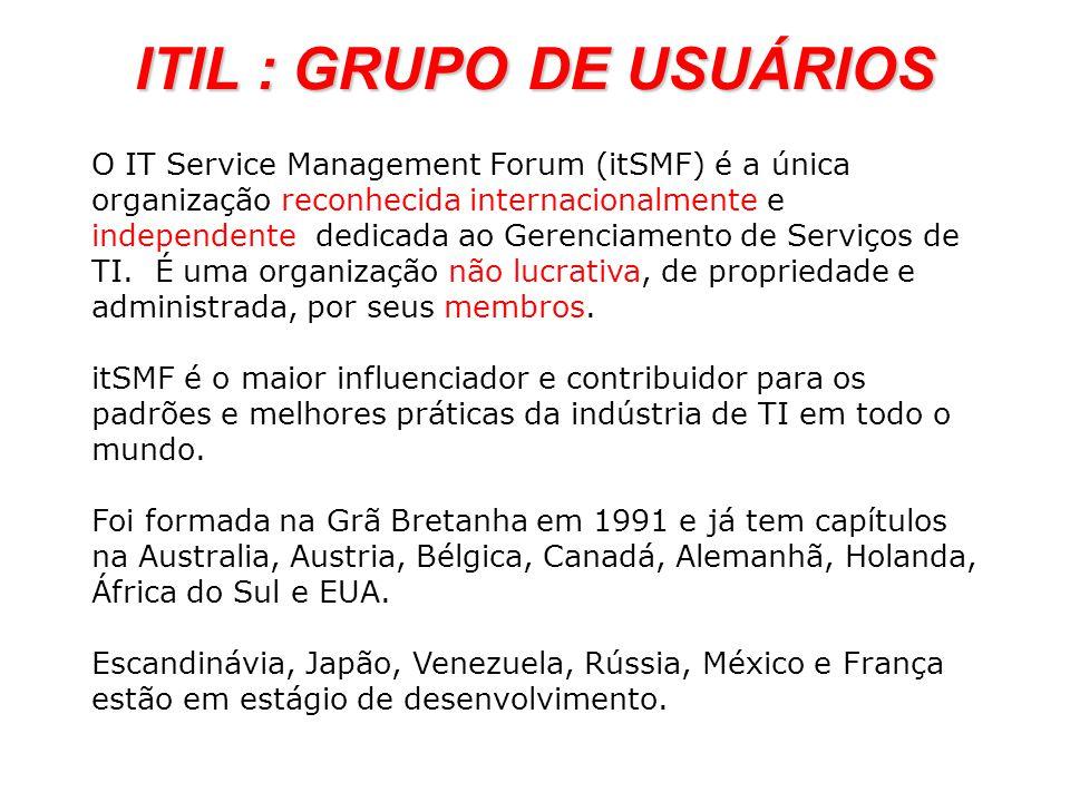 O IT Service Management Forum (itSMF) é a única organização reconhecida internacionalmente e independente dedicada ao Gerenciamento de Serviços de TI.