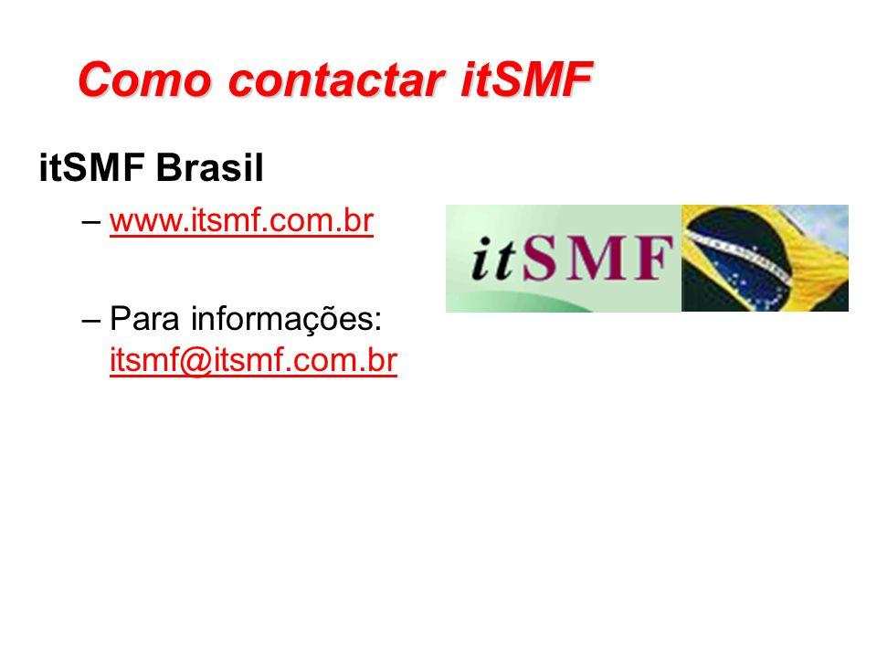 Como contactar itSMF itSMF Brasil –www.itsmf.com.brwww.itsmf.com.br –Para informações: itsmf@itsmf.com.br@itsmf.com.br