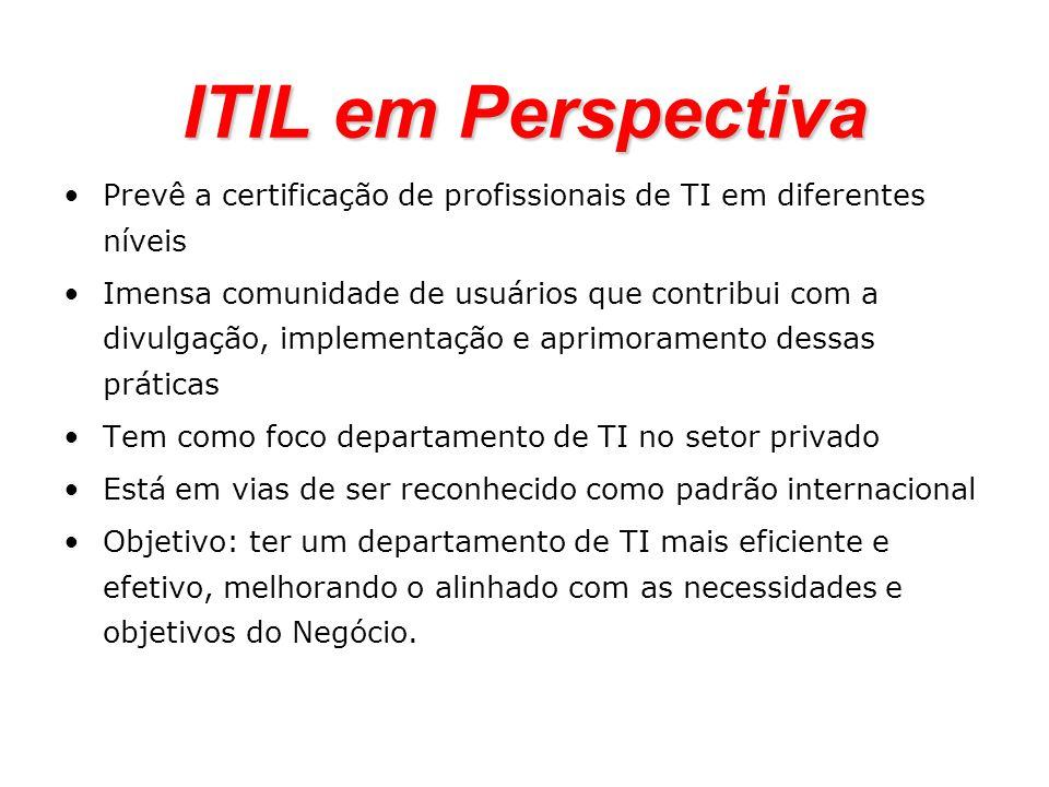 ITIL em Perspectiva Prevê a certificação de profissionais de TI em diferentes níveis Imensa comunidade de usuários que contribui com a divulgação, imp