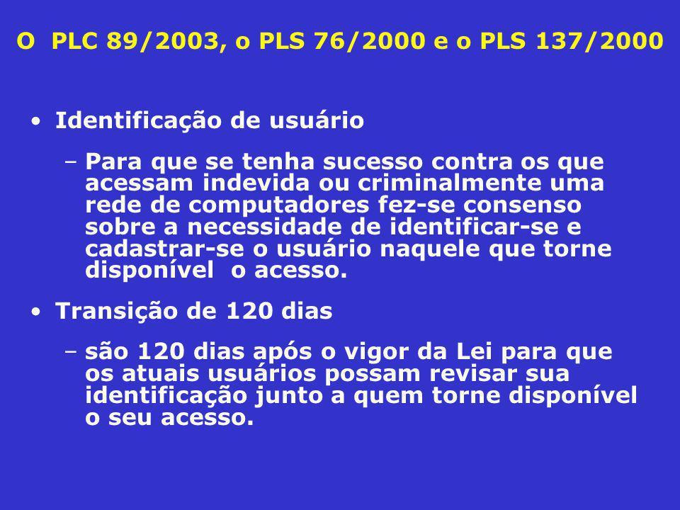 O PLC 89/2003, o PLS 76/2000 e o PLS 137/2000 Identificação de usuário –Para que se tenha sucesso contra os que acessam indevida ou criminalmente uma rede de computadores fez-se consenso sobre a necessidade de identificar-se e cadastrar-se o usuário naquele que torne disponível o acesso.