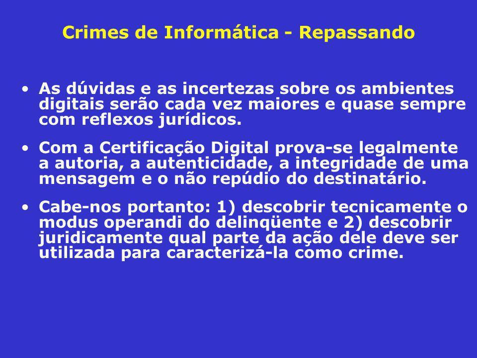 Crimes de Informática - Repassando As dúvidas e as incertezas sobre os ambientes digitais serão cada vez maiores e quase sempre com reflexos jurídicos.
