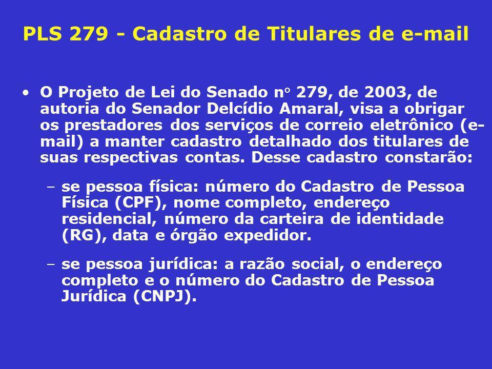 PLS 508 de 2003 veda divulgação de informações privadas Seu longo art.