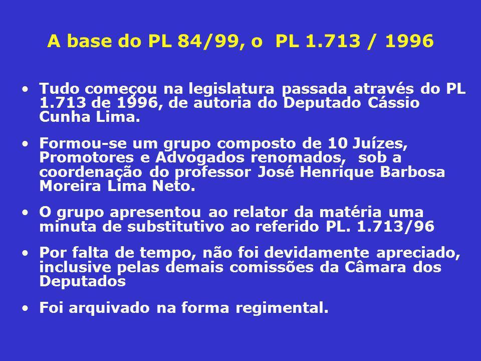 PL 84/99 é renomeado PLC 89/03 Quatro anos depois chega ao Senado Federal, o PL 84 de 1999, baseado no PL 1.713/96, renomeado para PLC 89 de 2003 Ainda na Câmara dos Deputados, foram apensados ao PL 84/99 os seguintes projetos: –PLC 2.557, de 2000 - Trata de crime de violação de banco de dados eletrônicos, o, acrescenta o art.