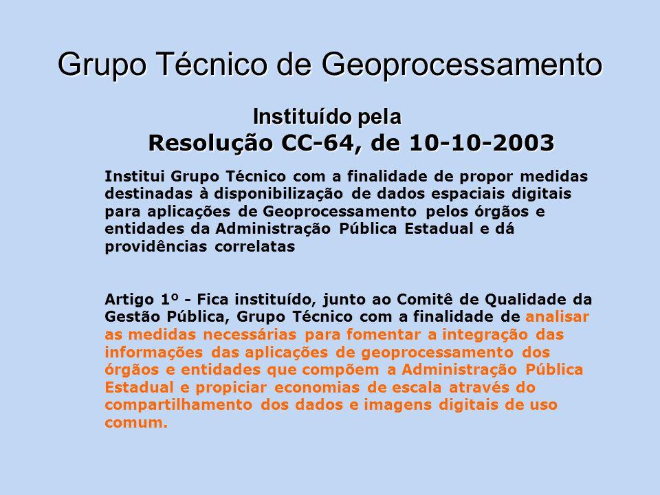 Grupo Técnico de Geoprocessamento Instituído pela Resolução CC-64, de 10-10-2003 Institui Grupo Técnico com a finalidade de propor medidas destinadas