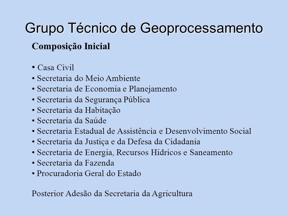 Grupo Técnico de Geoprocessamento Composição Inicial Casa Civil Secretaria do Meio Ambiente Secretaria de Economia e Planejamento Secretaria da Segura