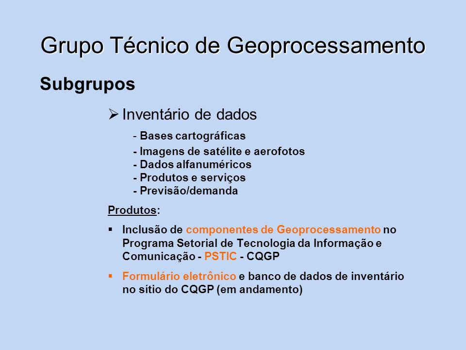 Grupo Técnico de Geoprocessamento Subgrupos Políticas e Diretrizes de Geoprocessamento Produtos: - Resolução P&D - Instituição de Grupo Gestor