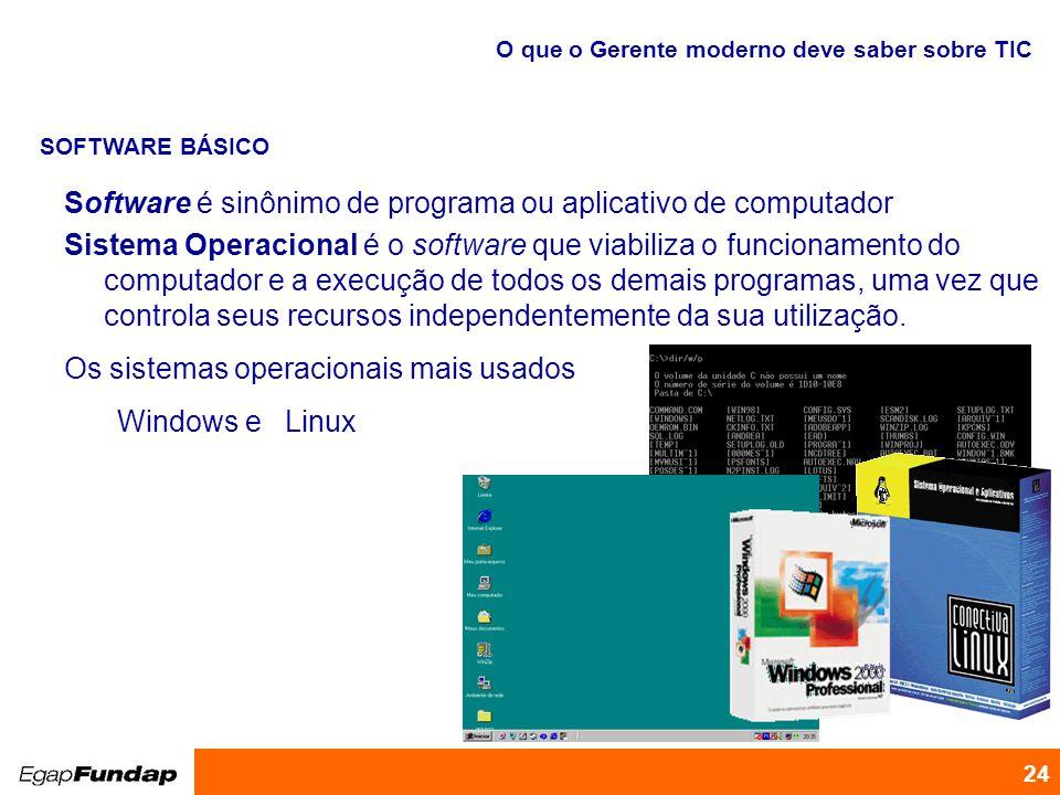 Programa de Desenvolvimento Gerencial 24 Software é sinônimo de programa ou aplicativo de computador Sistema Operacional é o software que viabiliza o