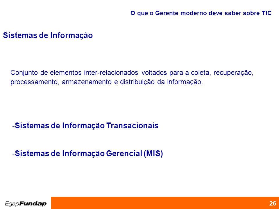 Programa de Desenvolvimento Gerencial 26 -Sistemas de Informação Transacionais -Sistemas de Informação Gerencial (MIS) O que o Gerente moderno deve sa