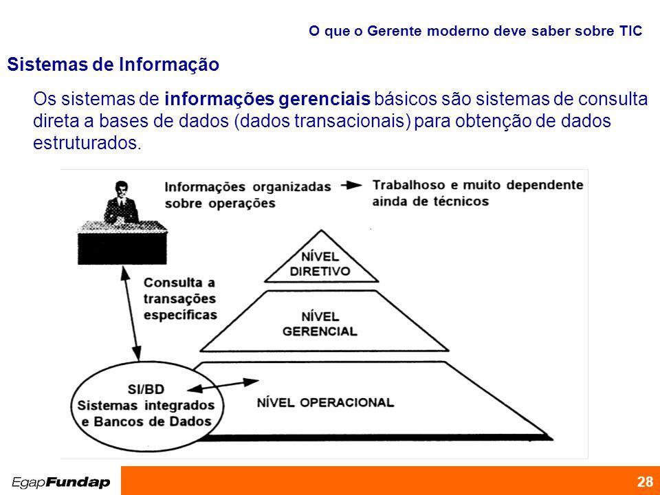 Programa de Desenvolvimento Gerencial 28 Os sistemas de informações gerenciais básicos são sistemas de consulta direta a bases de dados (dados transac