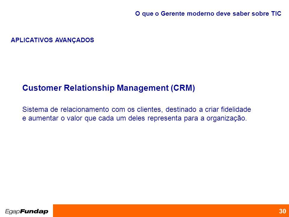 Programa de Desenvolvimento Gerencial 30 Customer Relationship Management (CRM) Sistema de relacionamento com os clientes, destinado a criar fidelidad