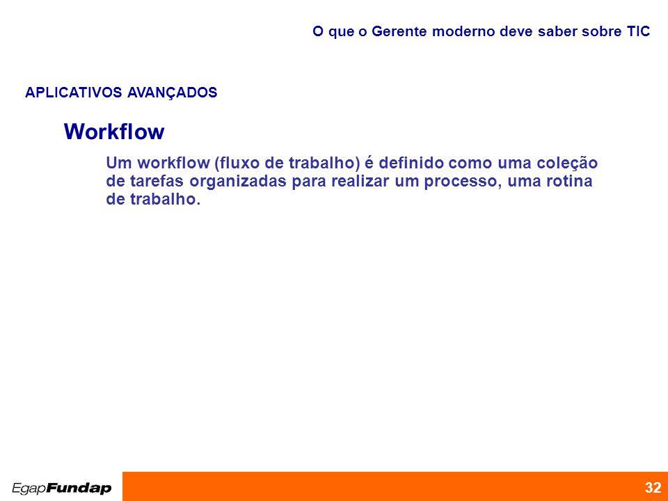 Programa de Desenvolvimento Gerencial 32 Workflow Um workflow (fluxo de trabalho) é definido como uma coleção de tarefas organizadas para realizar um