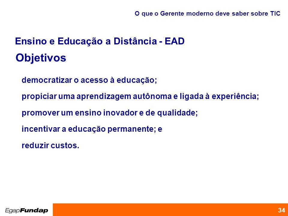 Programa de Desenvolvimento Gerencial 34 Objetivos O que o Gerente moderno deve saber sobre TIC democratizar o acesso à educação; propiciar uma aprend