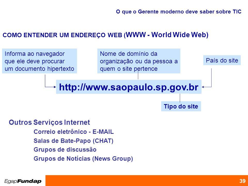 Programa de Desenvolvimento Gerencial 39 Outros Serviços Internet Correio eletrônico - E-MAIL Salas de Bate-Papo (CHAT) Grupos de discussão Grupos de