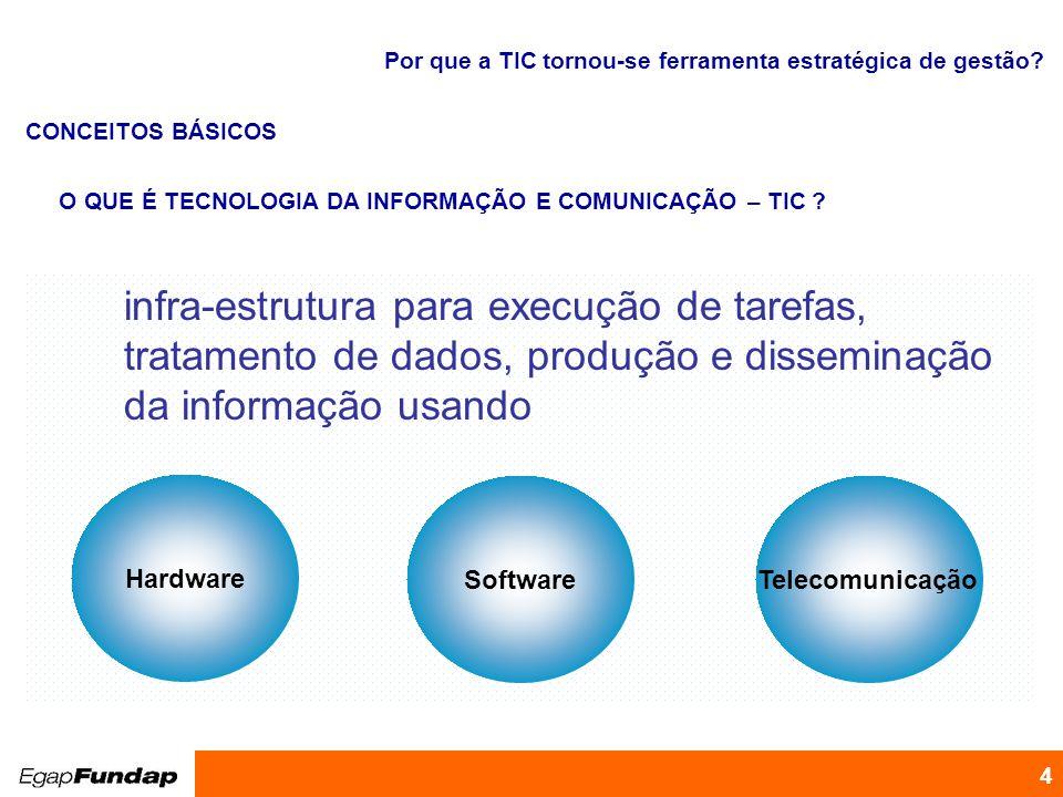 Programa de Desenvolvimento Gerencial 4 Por que a TIC tornou-se ferramenta estratégica de gestão? infra-estrutura para execução de tarefas, tratamento