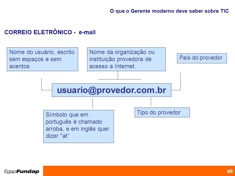 Programa de Desenvolvimento Gerencial 40 CORREIO ELETRÔNICO - e-mail O que o Gerente moderno deve saber sobre TIC usuario@provedor.com.br Nome do usuá