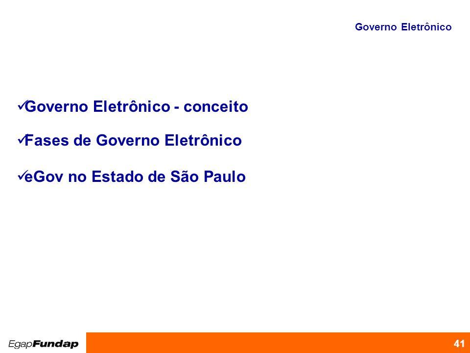 Programa de Desenvolvimento Gerencial 41 Governo Eletrônico - conceito Fases de Governo Eletrônico eGov no Estado de São Paulo Governo Eletrônico