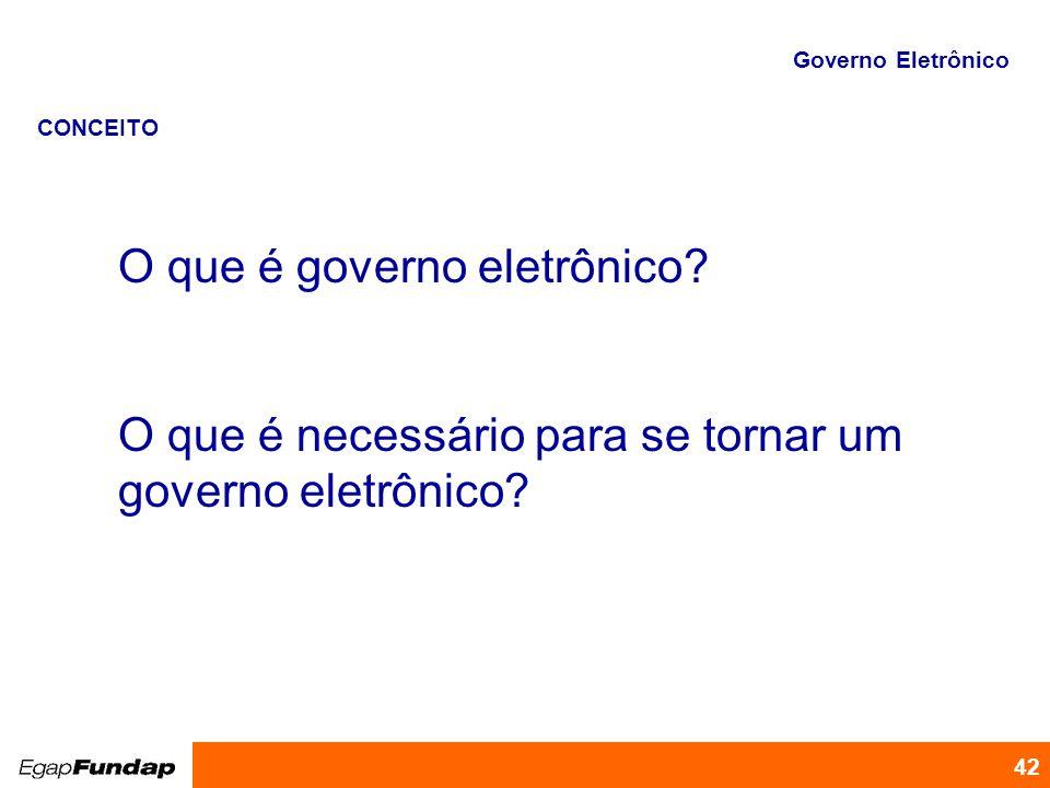 Programa de Desenvolvimento Gerencial 42 O que é governo eletrônico? O que é necessário para se tornar um governo eletrônico? Governo Eletrônico CONCE