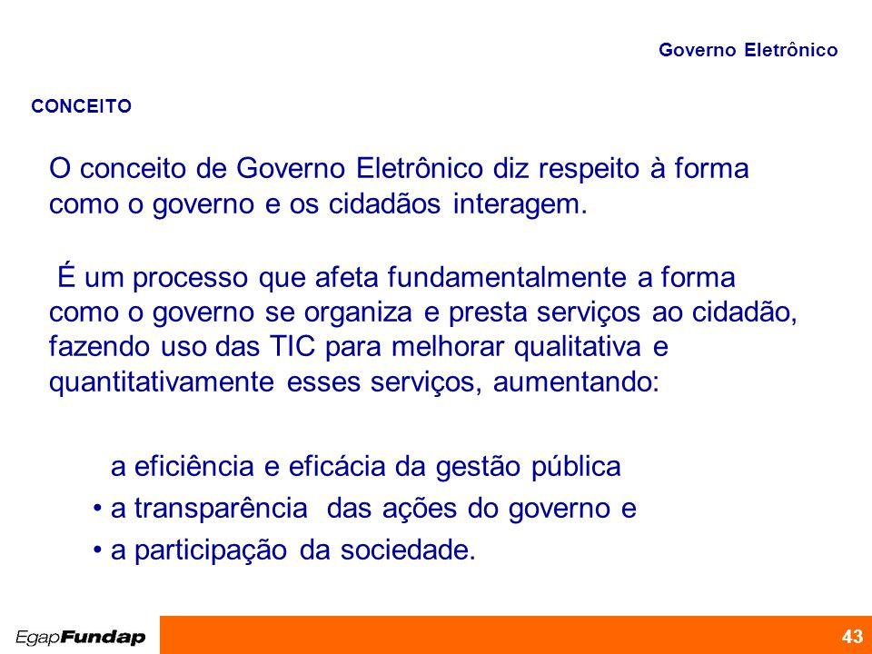 Programa de Desenvolvimento Gerencial 43 O conceito de Governo Eletrônico diz respeito à forma como o governo e os cidadãos interagem. É um processo q