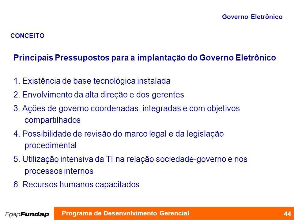 Programa de Desenvolvimento Gerencial Principais Pressupostos para a implantação do Governo Eletrônico 1. Existência de base tecnológica instalada 2.