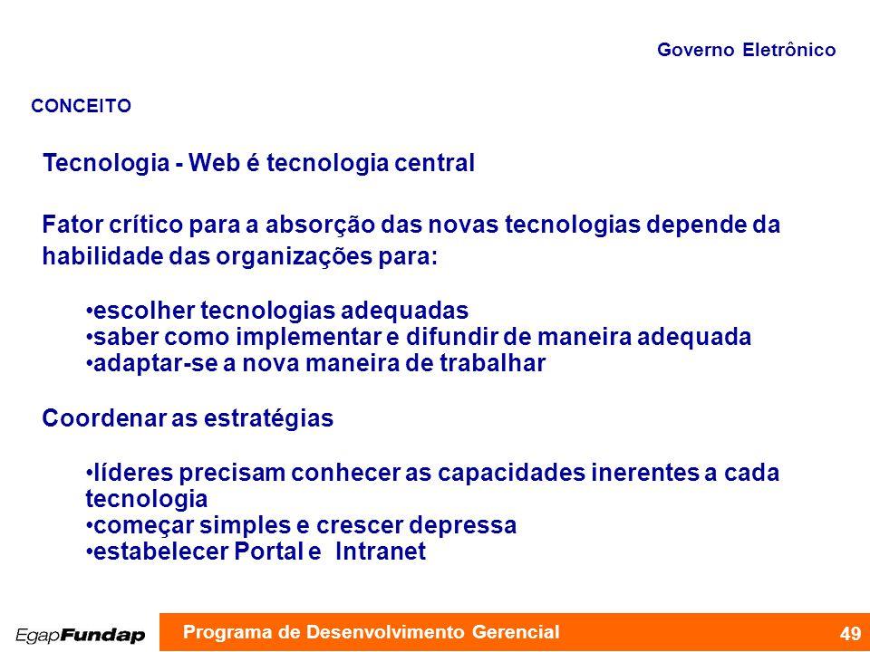 Tecnologia - Web é tecnologia central Fator crítico para a absorção das novas tecnologias depende da habilidade das organizações para: escolher tecnol