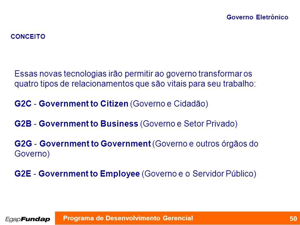 Essas novas tecnologias irão permitir ao governo transformar os quatro tipos de relacionamentos que são vitais para seu trabalho: G2C - Government to