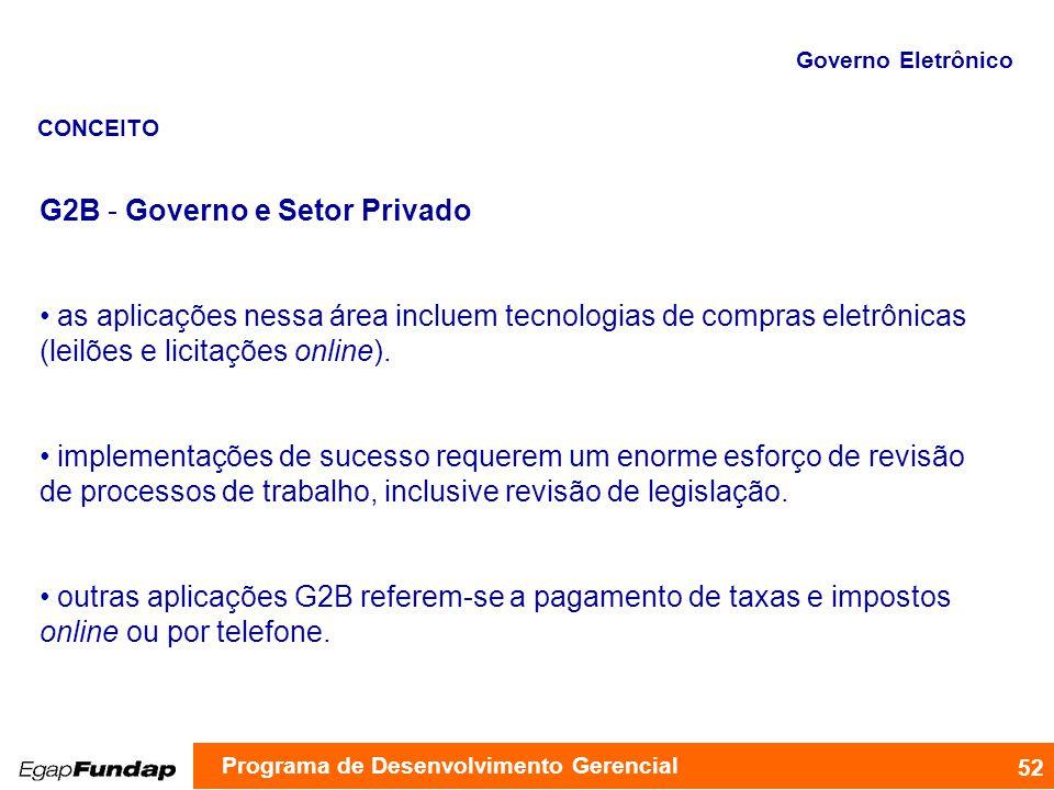 G2B - Governo e Setor Privado as aplicações nessa área incluem tecnologias de compras eletrônicas (leilões e licitações online). implementações de suc