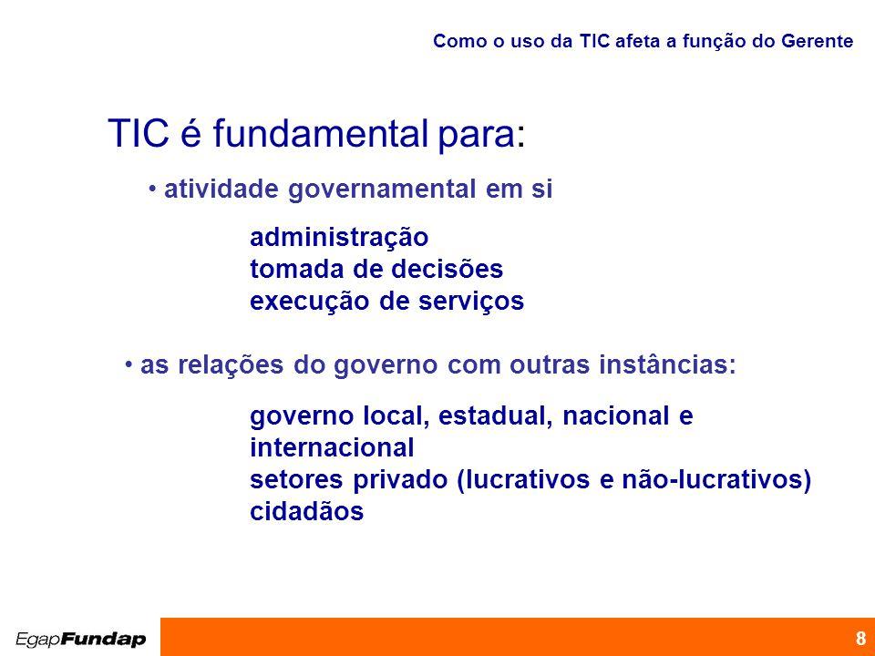 Programa de Desenvolvimento Gerencial 8 Como o uso da TIC afeta a função do Gerente TIC é fundamental para: atividade governamental em si administraçã