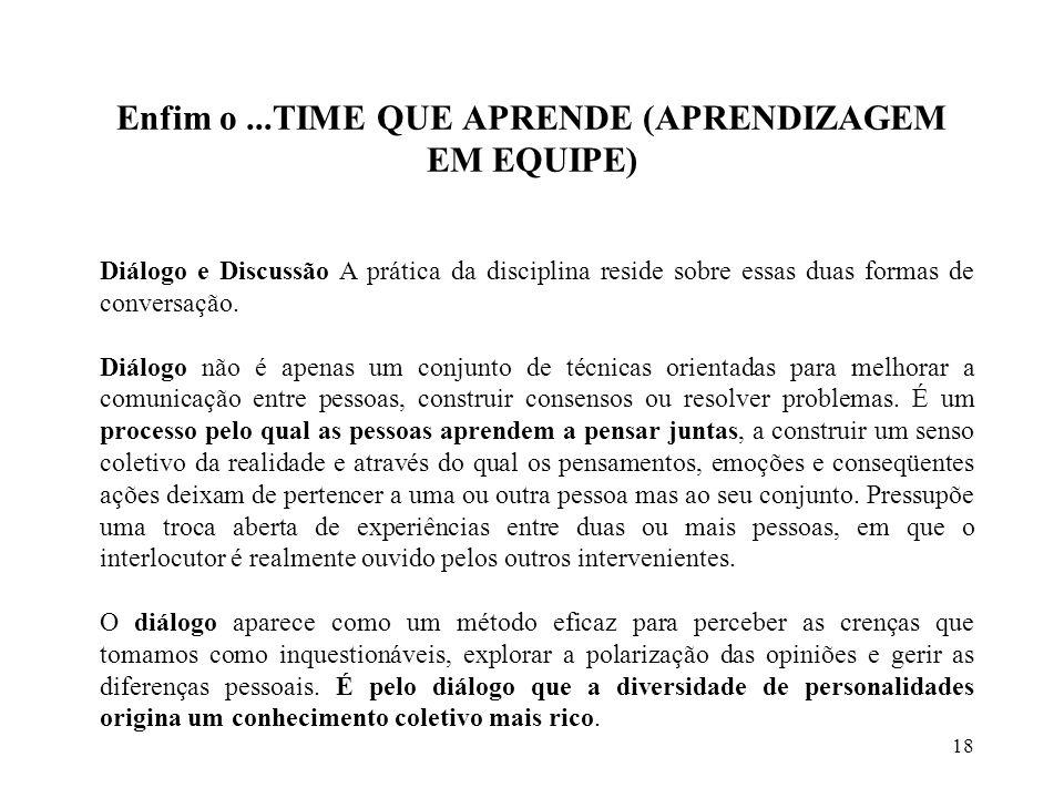 18 Enfim o...TIME QUE APRENDE (APRENDIZAGEM EM EQUIPE) Diálogo e Discussão A prática da disciplina reside sobre essas duas formas de conversação.