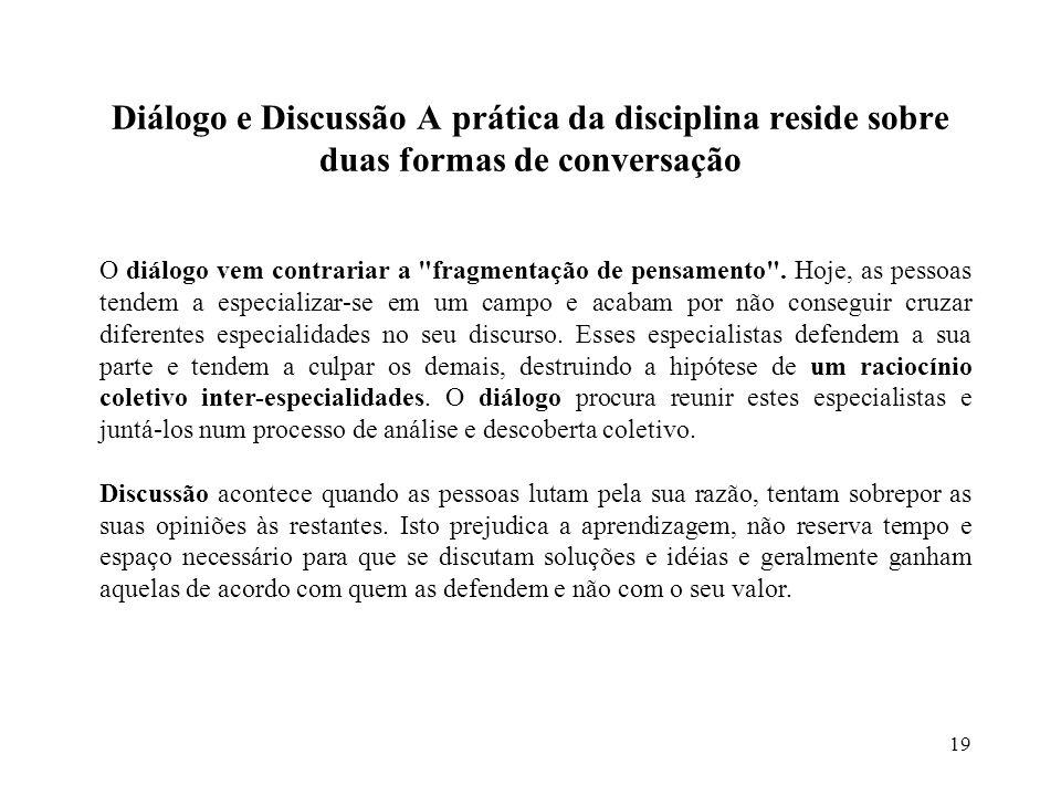 19 Diálogo e Discussão A prática da disciplina reside sobre duas formas de conversação O diálogo vem contrariar a fragmentação de pensamento .