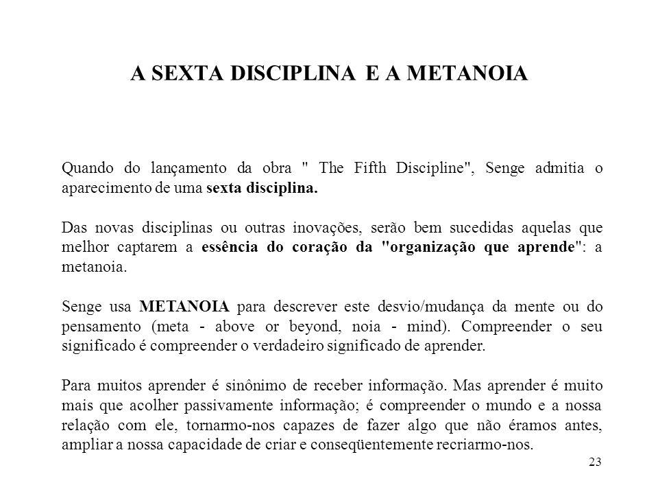 23 A SEXTA DISCIPLINA E A METANOIA Quando do lançamento da obra The Fifth Discipline , Senge admitia o aparecimento de uma sexta disciplina.