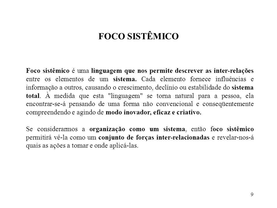9 FOCO SISTÊMICO Foco sistêmico é uma linguagem que nos permite descrever as inter-relações entre os elementos de um sistema.