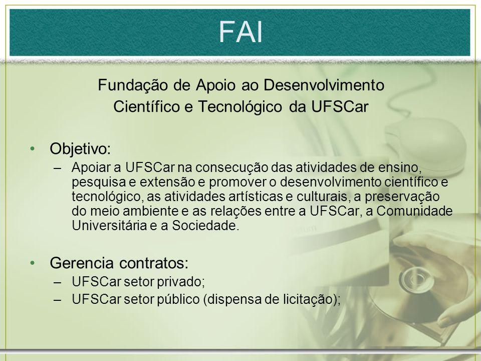 FAI Fundação de Apoio ao Desenvolvimento Científico e Tecnológico da UFSCar Objetivo: –Apoiar a UFSCar na consecução das atividades de ensino, pesquis