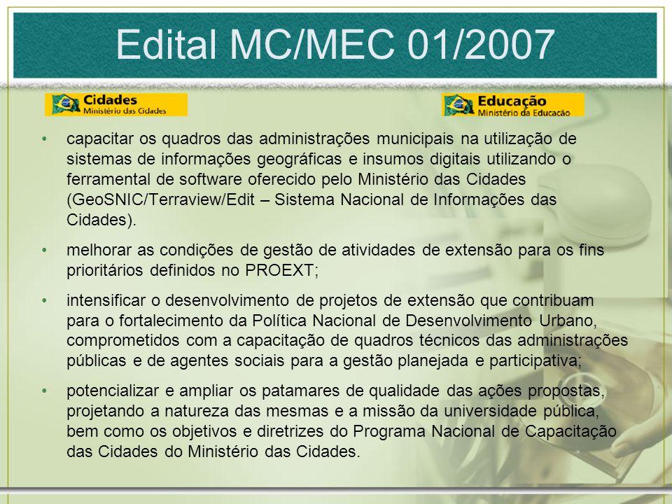 Edital MC/MEC 01/2007 capacitar os quadros das administrações municipais na utilização de sistemas de informações geográficas e insumos digitais utili