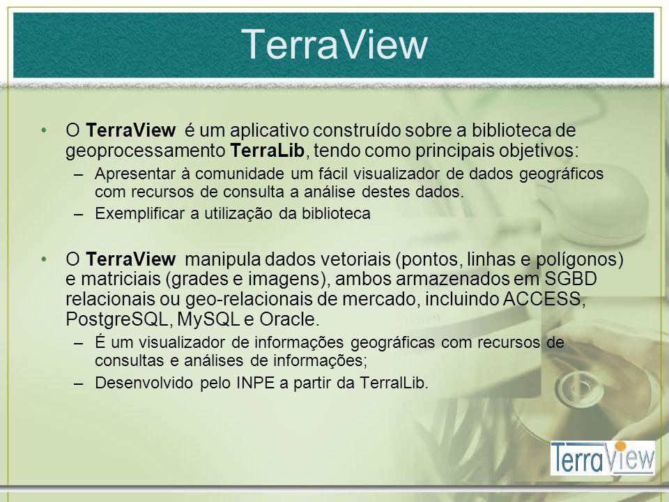 TerraView O TerraView é um aplicativo construído sobre a biblioteca de geoprocessamento TerraLib, tendo como principais objetivos: –Apresentar à comun