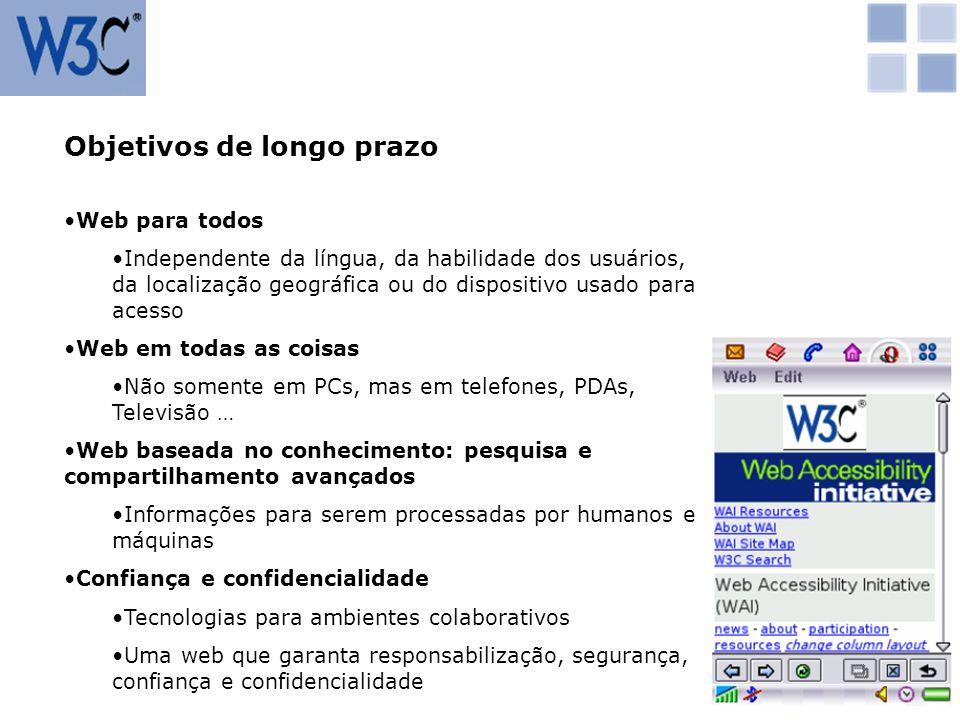 Objetivos de longo prazo Web para todos Independente da língua, da habilidade dos usuários, da localização geográfica ou do dispositivo usado para ace